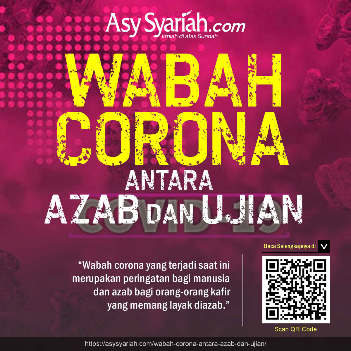 Wabah Corona Antara Azab Dan Ujian Majalah Islam Asy Syariah